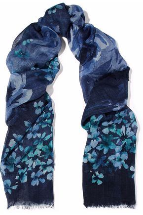 VALENTINO Floral-print cashmere and silk-blend gauze scarf