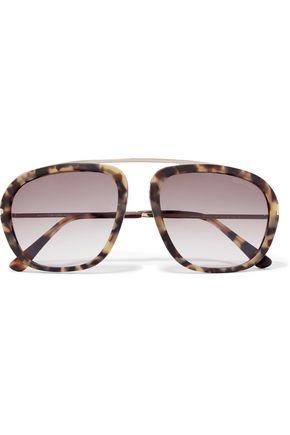 TOM FORD Aviator-style silver-tone and tortoiseshell acetate sunglasses