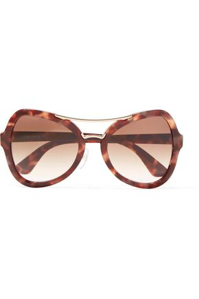 PRADA Square-frame acetate gold-tone sunglasses
