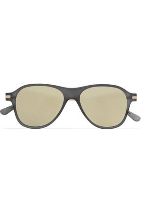 LE SPECS Aviator-style acetate mirrored sunglasses