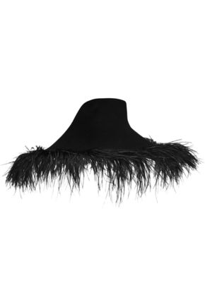LANVIN Feather-trimmed rabbit-felt hat