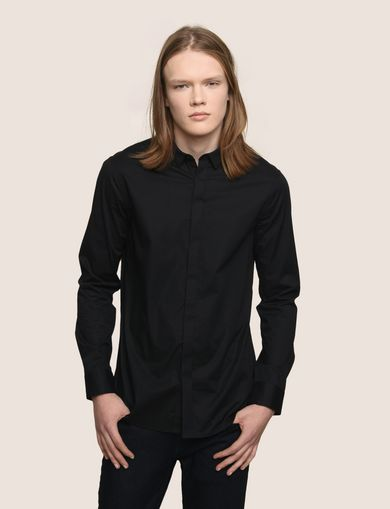 COVERED PLACKET STRETCH REGULAR-FIT SHIRT