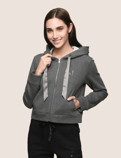 SATIN RIBBON ZIP-UP HOODIE