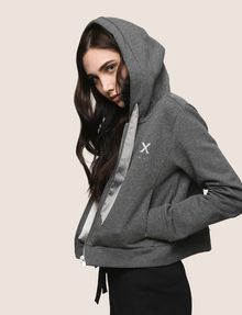 ARMANI EXCHANGE SATIN RIBBON ZIP-UP HOODIE Fleece Jacket Woman a