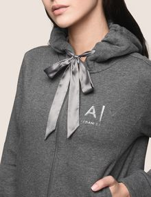ARMANI EXCHANGE SATIN RIBBON ZIP-UP HOODIE Fleece Jacket Woman b