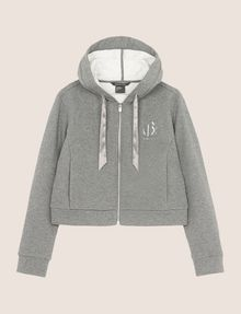 ARMANI EXCHANGE SATIN RIBBON ZIP-UP HOODIE Fleece Jacket Woman r
