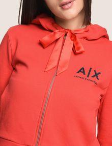 ARMANI EXCHANGE SATIN RIBBON ZIP-UP HOODIE Fleece Jacket Woman b