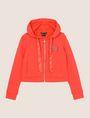 ARMANI EXCHANGE SATIN RIBBON ZIP-UP HOODIE Fleece Jacket Woman r