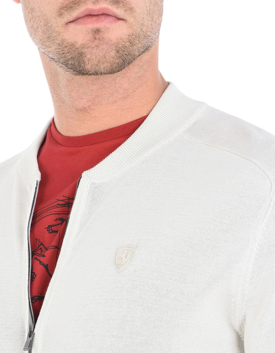 Scuderia Ferrari Online Store - Zipped sweater in Italian cotton yarn - Zip Sweaters
