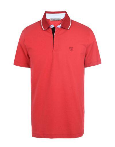 Scuderia Ferrari Online Store - Men's short-sleeve polo shirt with Ferrari Shield - Short Sleeve Polos