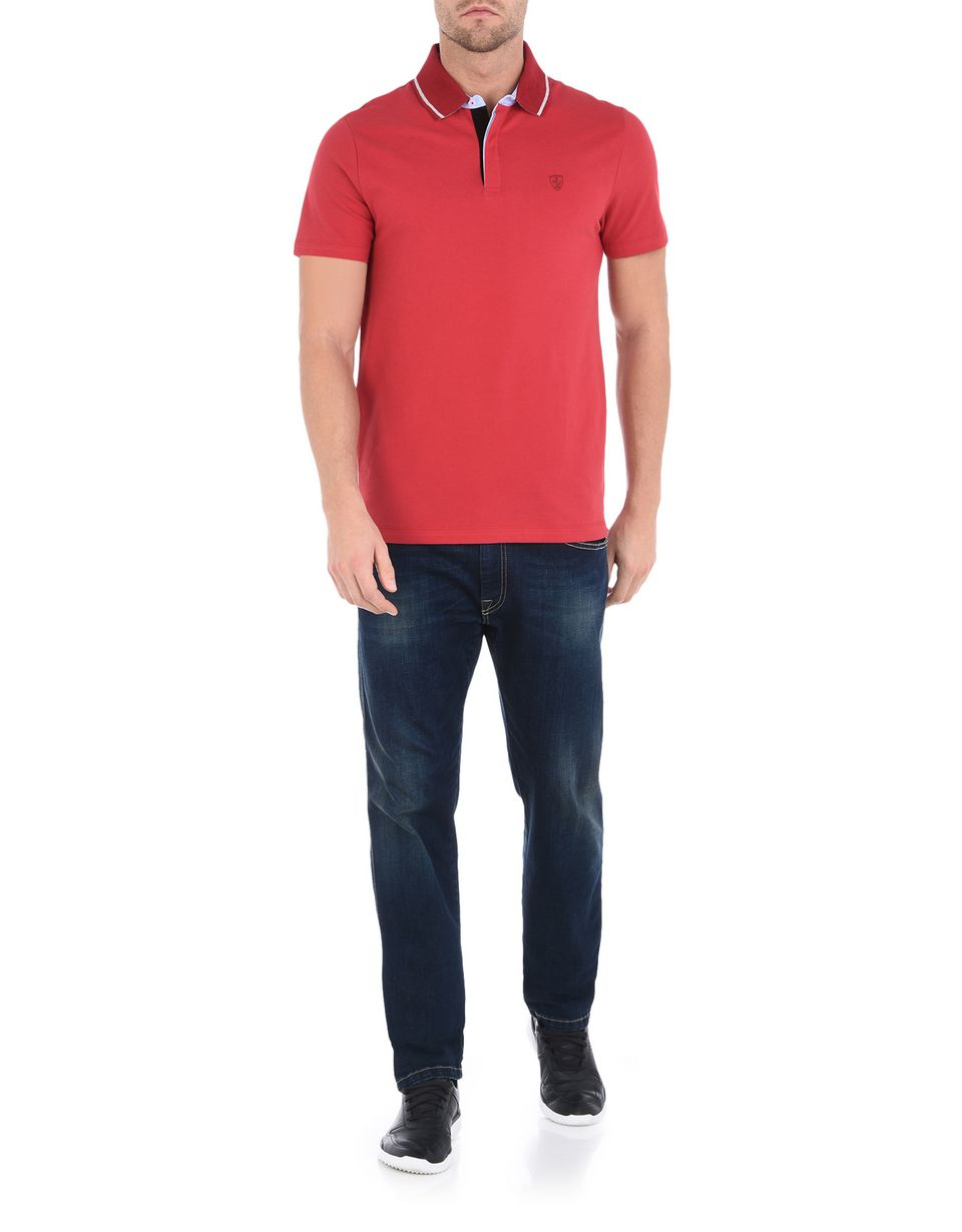 Scuderia Ferrari Online Store - Men's short-sleeve polo shirt with Ferrari Shield - Short Sleeve Polos