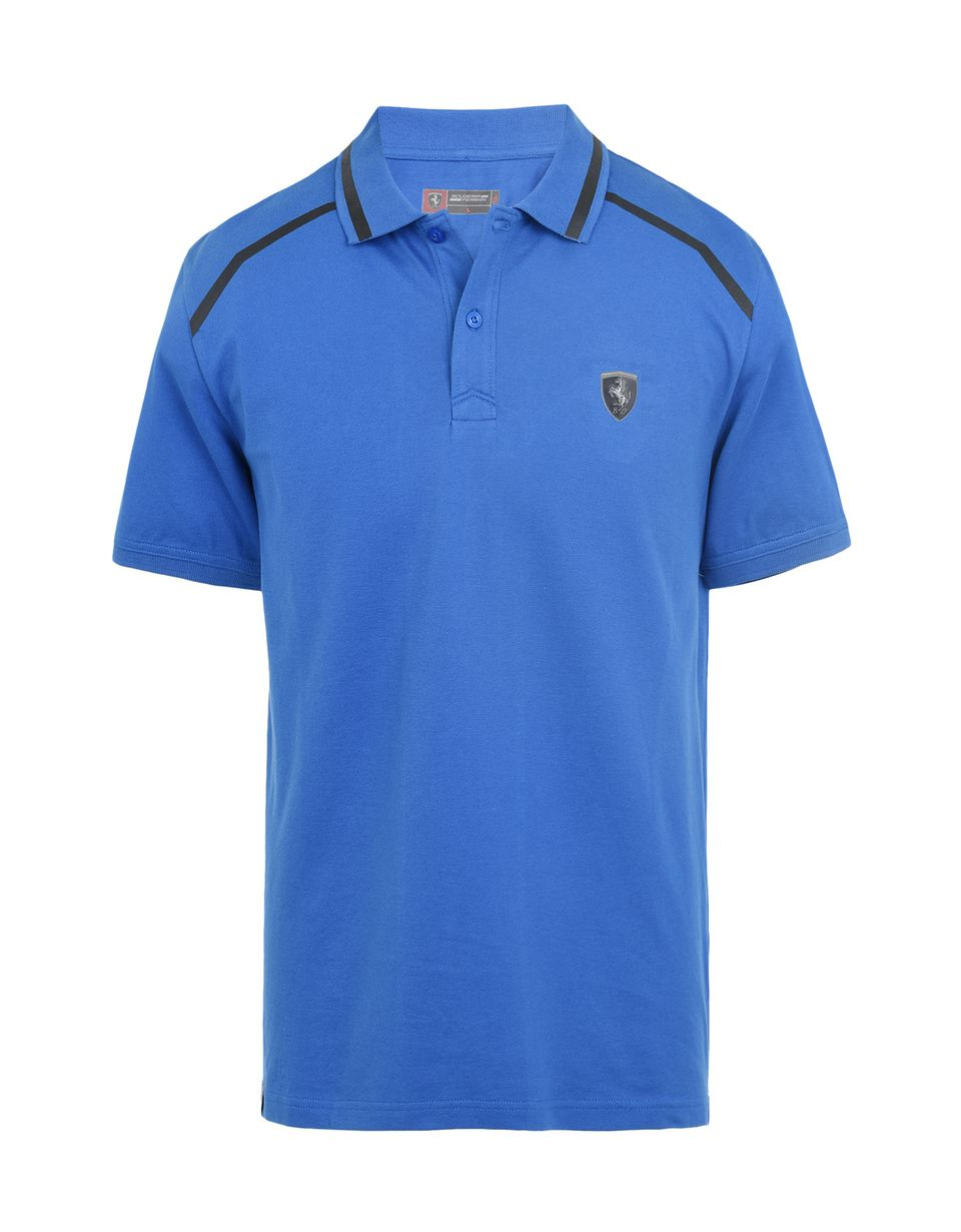 Scuderia Ferrari Online Store - Short-sleeve cotton polo shirt with rubberized print - Short Sleeve Polos