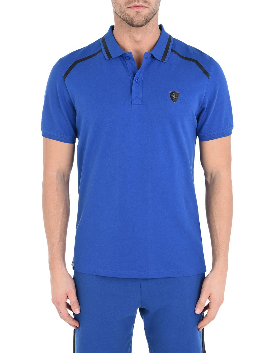 Scuderia Ferrari Online Store - Short-sleeve cotton polo shirt with rubberised print - Short Sleeve Polos