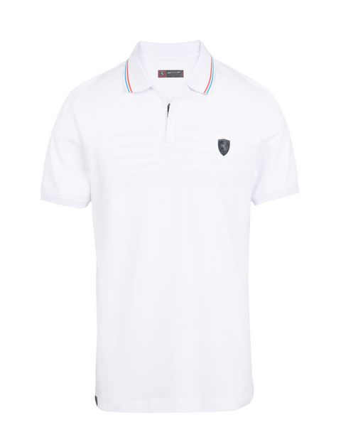 Scuderia Ferrari Online Store - Short-sleeve zip polo shirt with rubberised print - Short Sleeve Polos