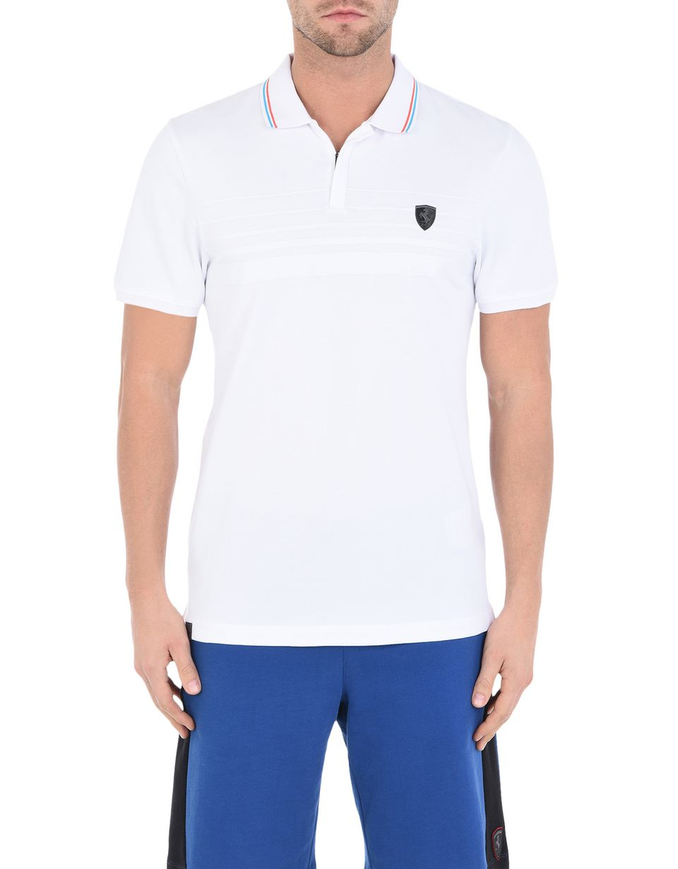Scuderia Ferrari Online Store - Short-sleeve zipped polo shirt with rubberized print - Short Sleeve Polos