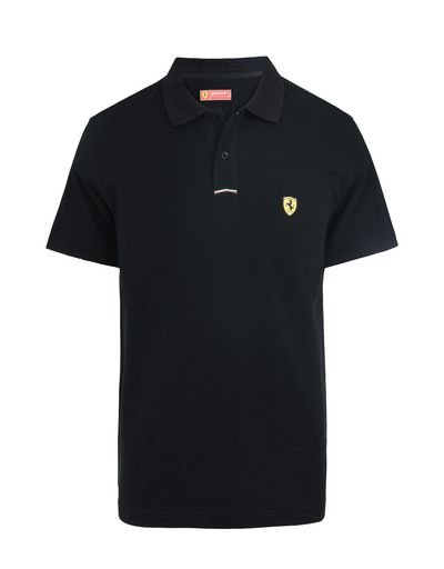 Scuderia Ferrari Online Store - Piqué cotton polo shirt with Shield on the breast - Short Sleeve Polos