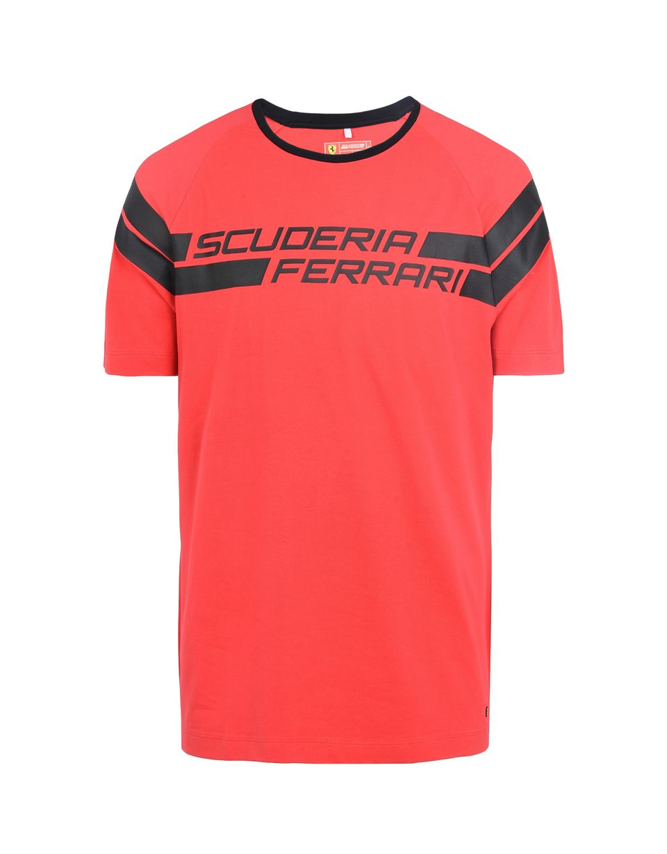 Scuderia Ferrari Online Store - Scuderia Ferrari T-Shirt with rubberised print - Short Sleeve T-Shirts