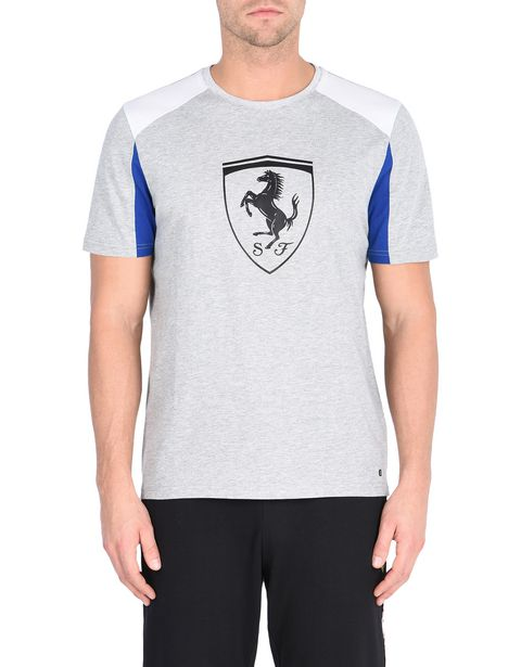 Kurzärmeliges Shirt mit Ferrari-Abzeichen in Relief-Optik