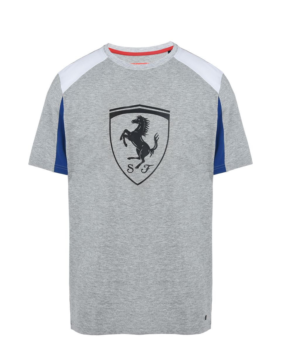 Scuderia Ferrari Online Store - Short-sleeve T-shirt with relief printed Shield -