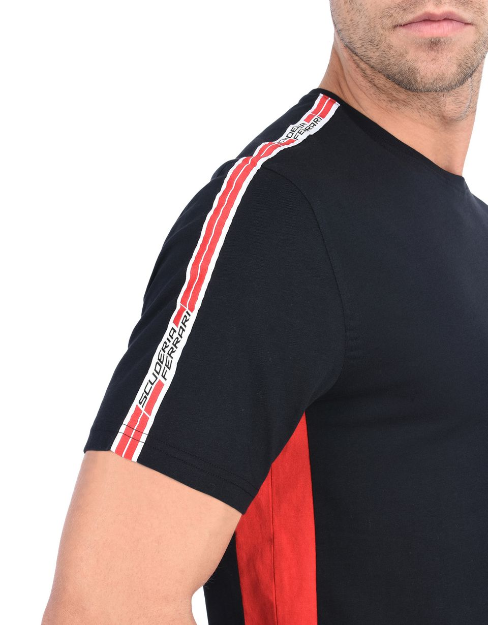 Scuderia Ferrari Online Store - Scuderia Ferrari T-shirt with Icon Tape - Short Sleeve T-Shirts