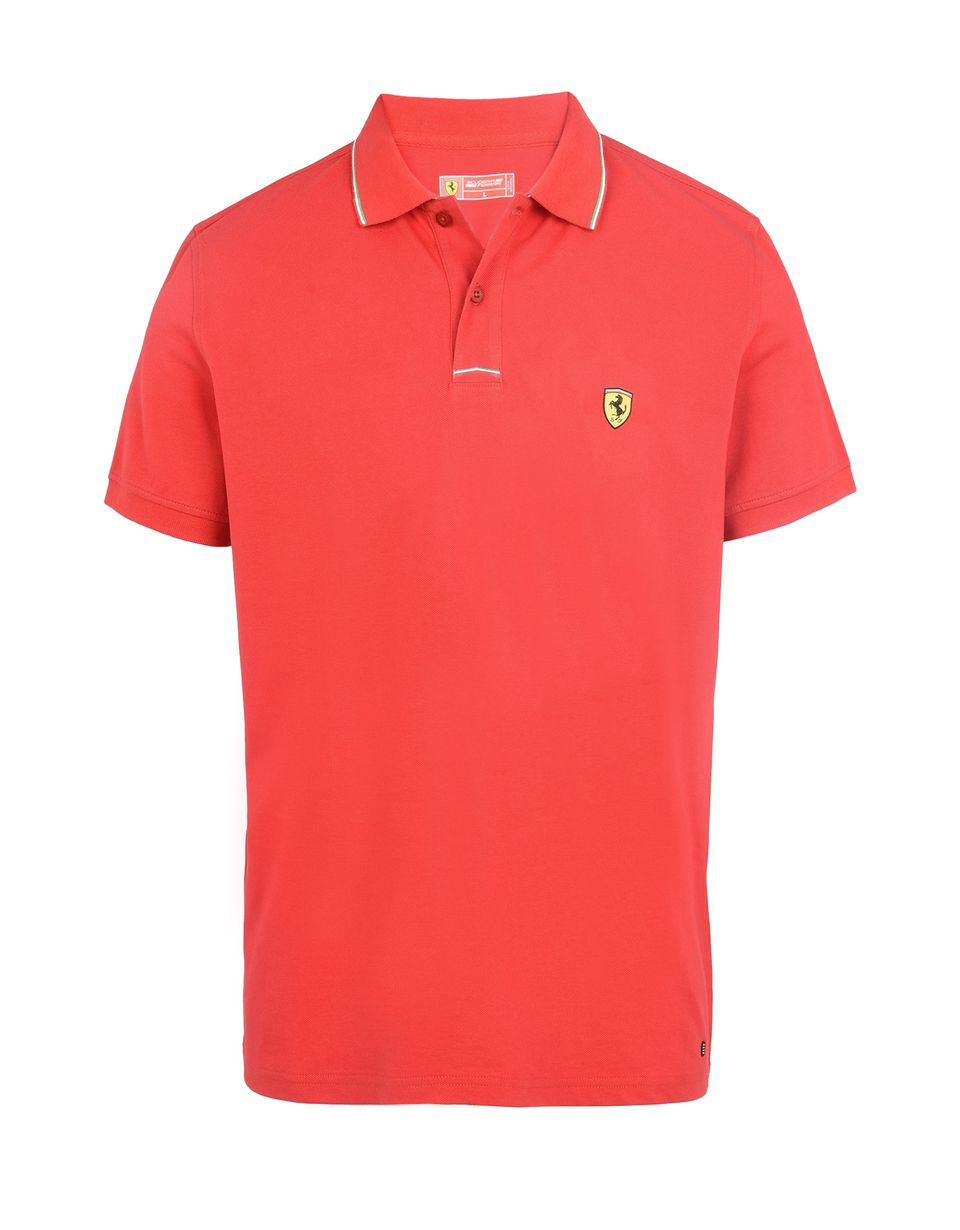 Scuderia Ferrari Online Store - Men's piqué cotton polo shirt -