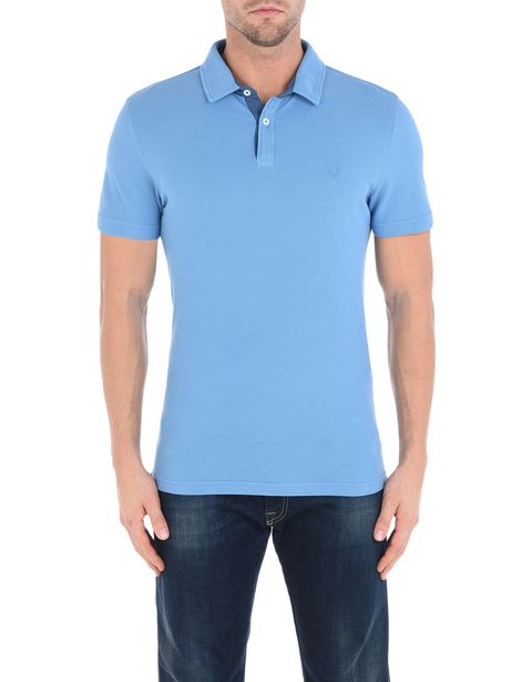 Men's short-sleeve polo shirt with gabardine collar