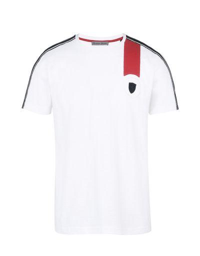 Scuderia Ferrari Online Store - Men's crewneck T-shirt with Ferrari Shield -