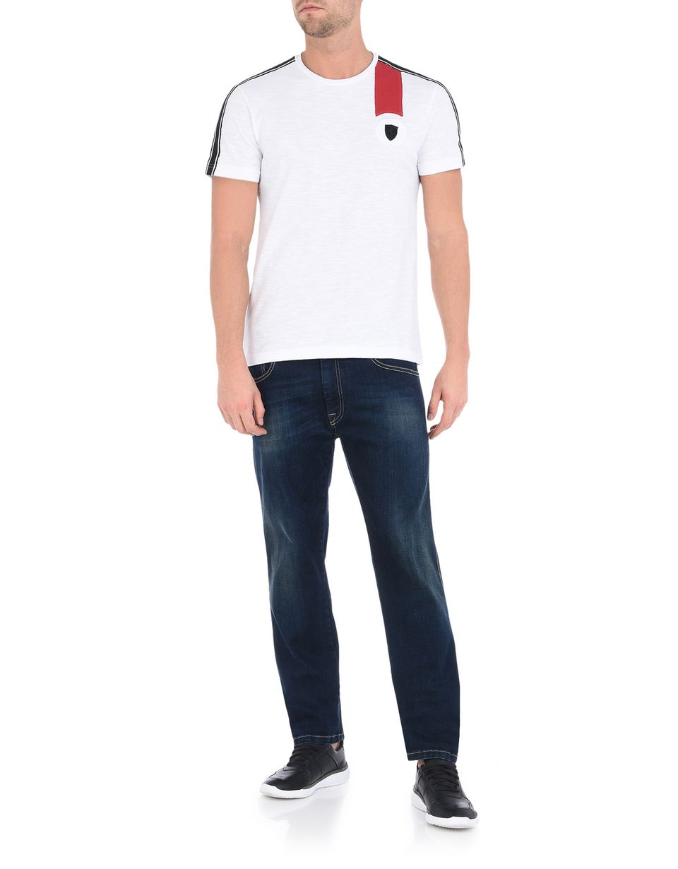 Scuderia Ferrari Online Store - Men's crewneck T-shirt with Ferrari Shield - Short Sleeve T-Shirts