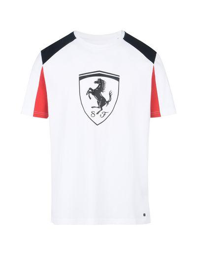 Scuderia Ferrari Online Store - Kurzärmeliges Shirt mit Ferrari-Abzeichen in Relief-Optik - Kurzärmelige T-Shirts