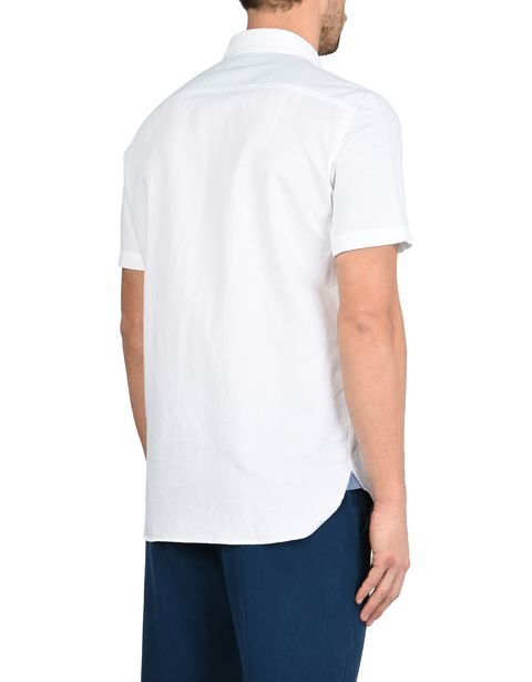 Men's short-sleeve cotton linen blend shirt