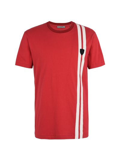 Scuderia Ferrari Online Store - Men's short-sleeve crewneck T-shirt with contrasting colour stripes - Short Sleeve T-Shirts