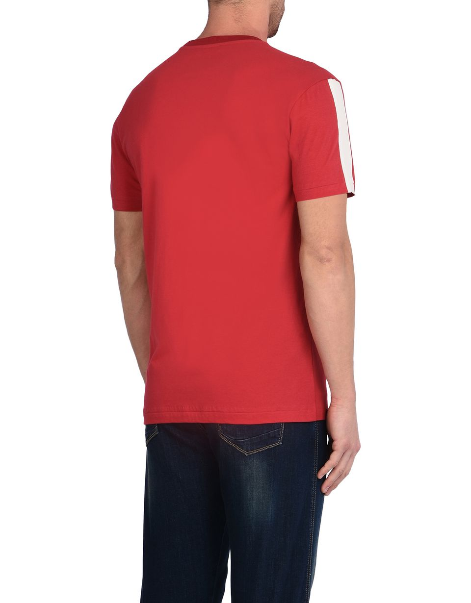 Scuderia Ferrari Online Store - Men's short-sleeve crewneck T-shirt with contrasting color stripes - Short Sleeve T-Shirts