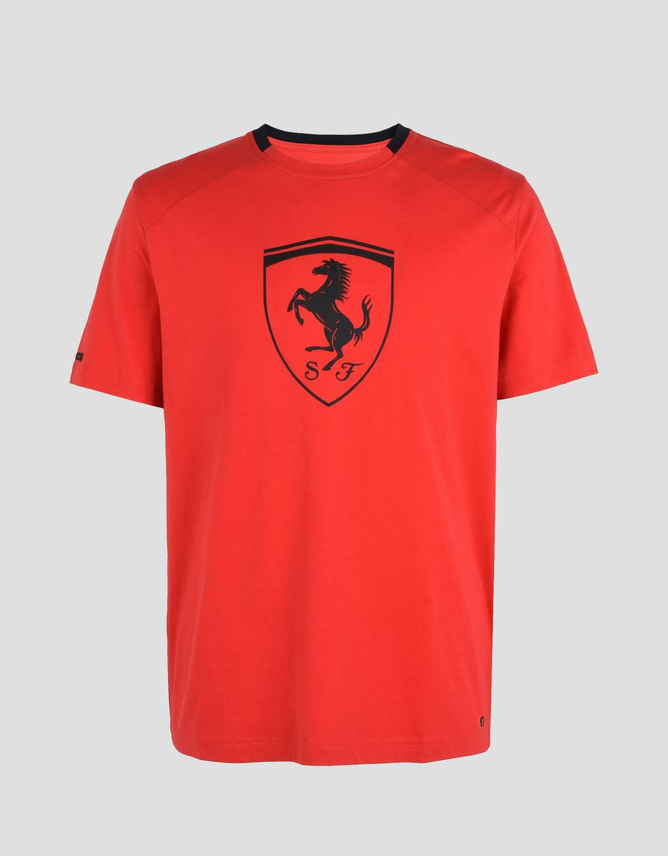 Scuderia Ferrari Online Store - Men's short-sleeve t-shirt with black Shield -