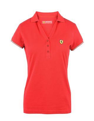 Scuderia Ferrari Online Store - Short-sleeve women's polo shirt in piqué cotton -