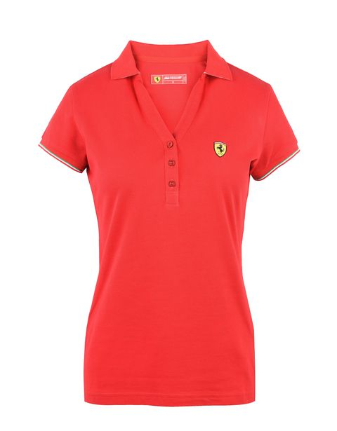 Scuderia Ferrari Online Store - Short-sleeve women's polo shirt in piqué cotton -