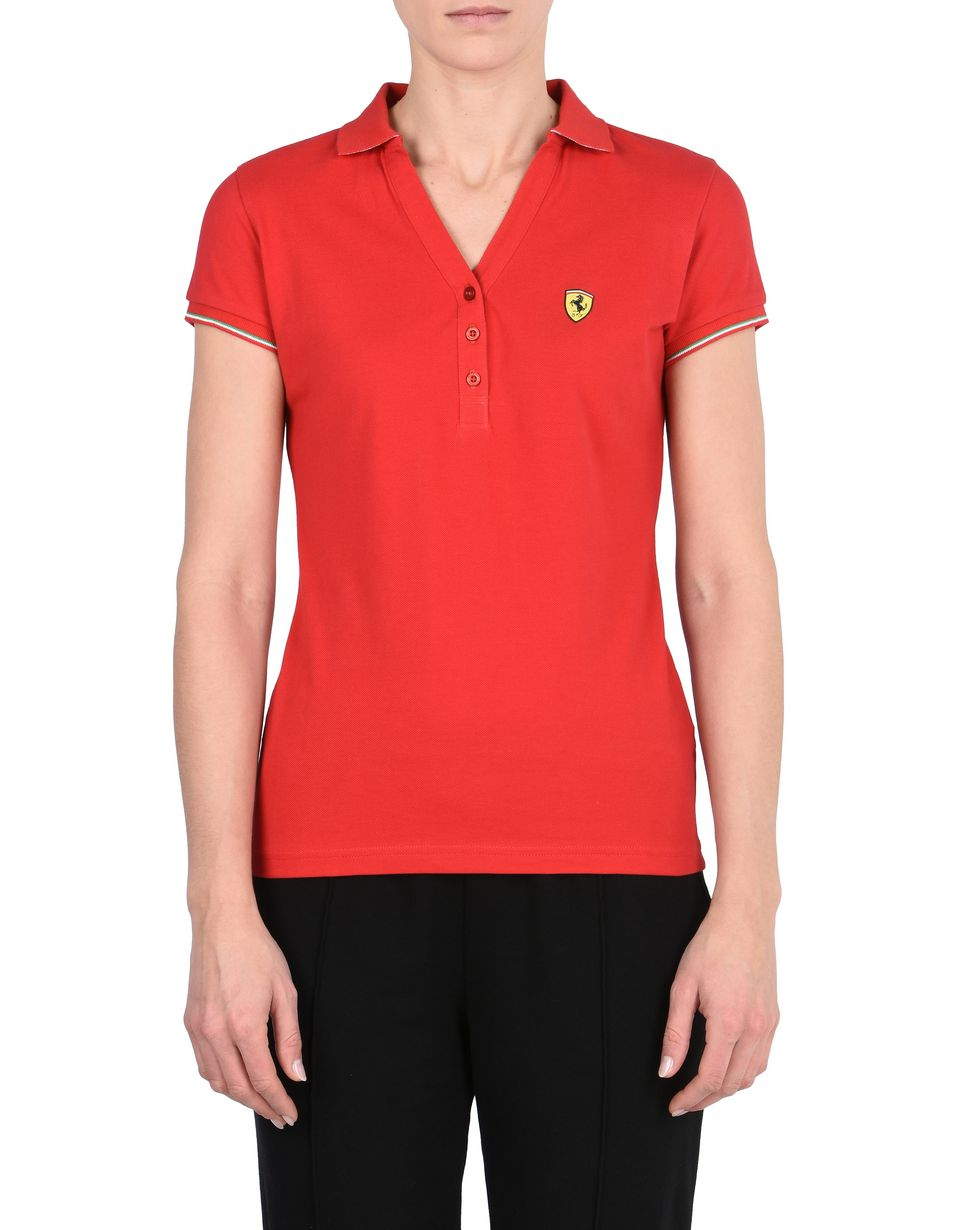 Scuderia Ferrari Online Store - Short-sleeve women's polo shirt in piqué cotton - Short Sleeve Polos