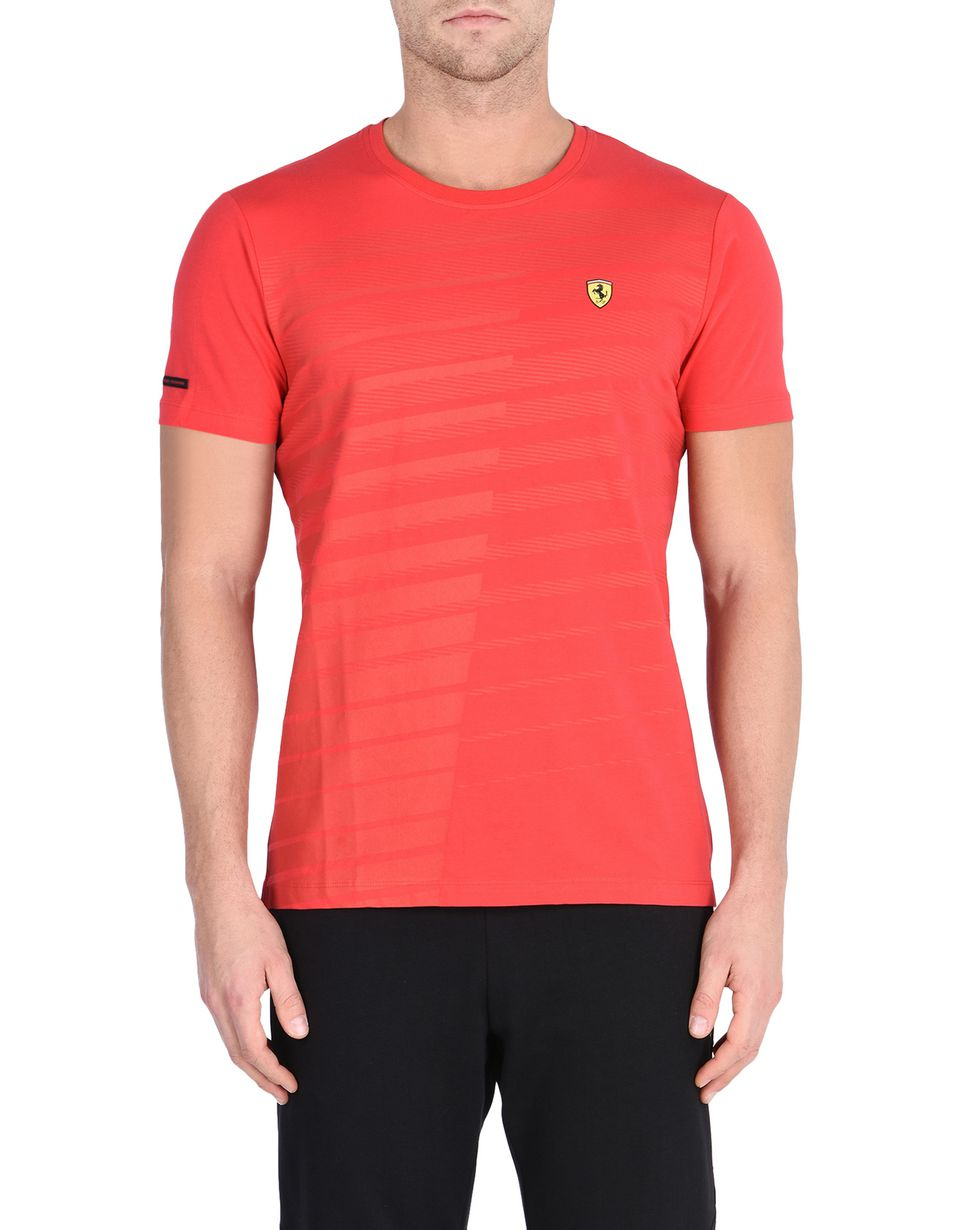 Scuderia Ferrari Online Store - Men's Scuderia Ferrari T-shirt with rubberised print - Short Sleeve T-Shirts