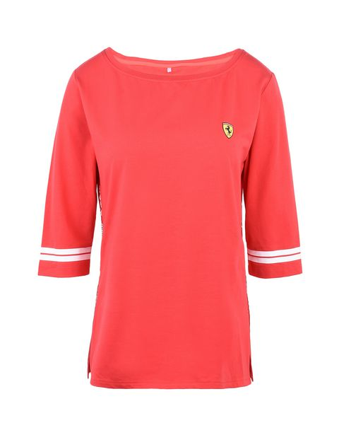 Scuderia Ferrari Online Store - Women's Scuderia Ferrari T-shirt with Icon Tape - Short Sleeve T-Shirts
