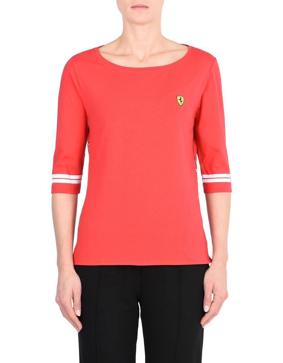 Scuderia Ferrari Online Store - Women's Scuderia Ferrari T-shirt with Icon Tape -