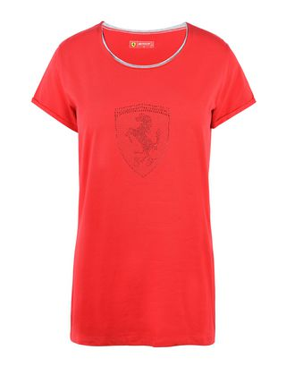 Scuderia Ferrari Online Store - Woman's T-shirt with rhinestone Shield - Short Sleeve T-Shirts