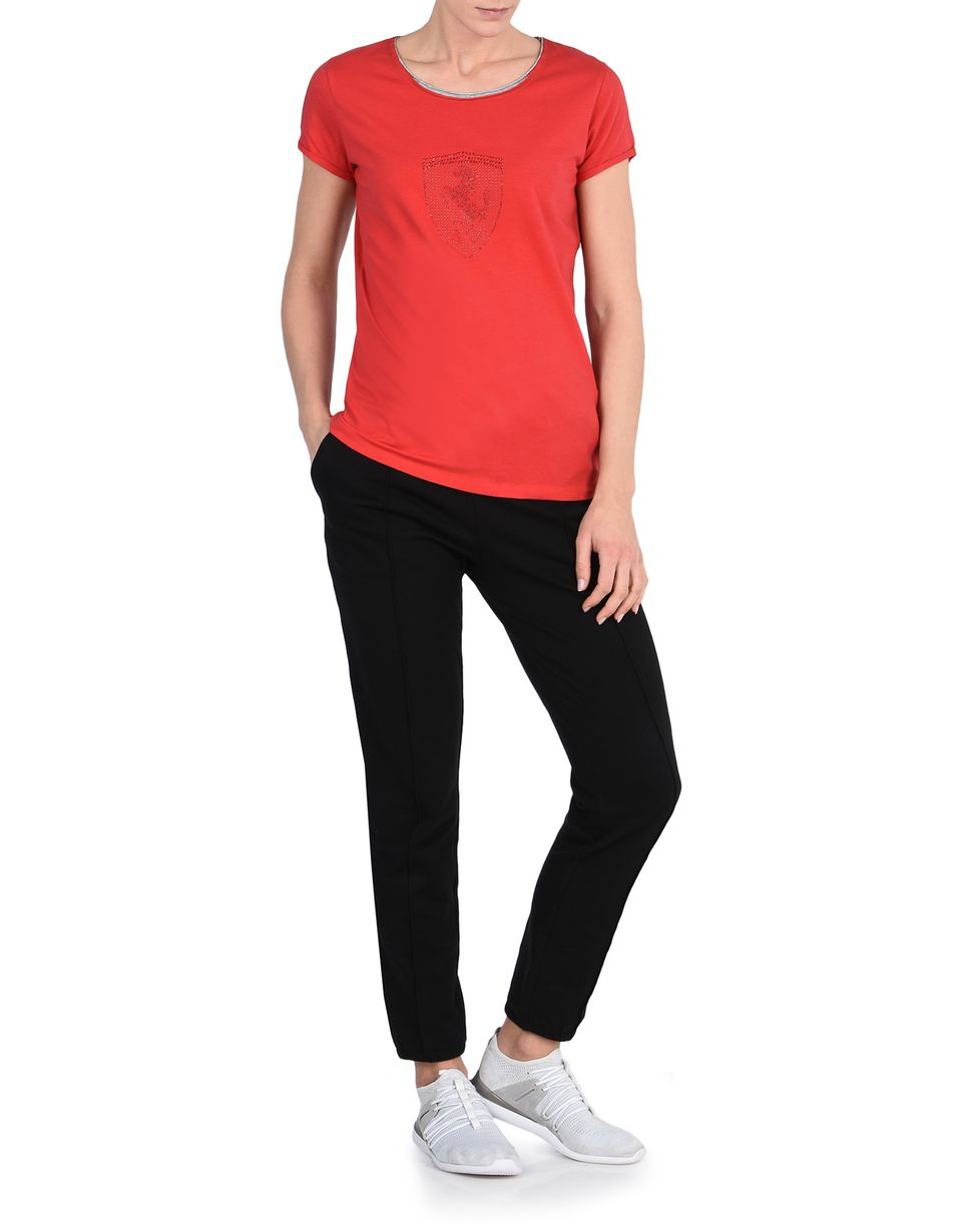Scuderia Ferrari Online Store - Woman's T-shirt with rhinestone Shield -