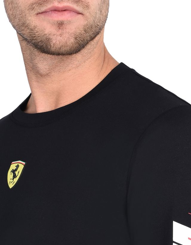 Scuderia Ferrari Online Store - Men's long-sleeve T-shirt with print on the sleeves - Long Sleeve T-Shirts