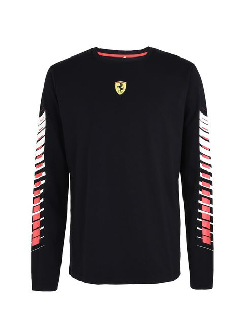 Scuderia Ferrari Online Store - Men's long-sleeve T-shirt with print on the sleeves -