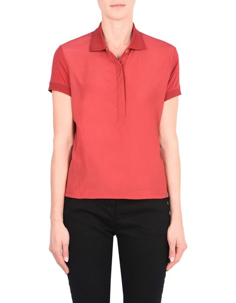 Women's short-sleeve polo shirt with laminated print