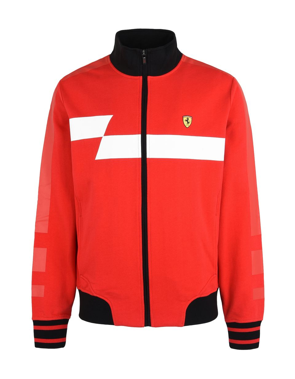 Scuderia Ferrari Online Store - Men's zip sweatshirt with geometric print and Ferrari Shield - Zip Jumpers