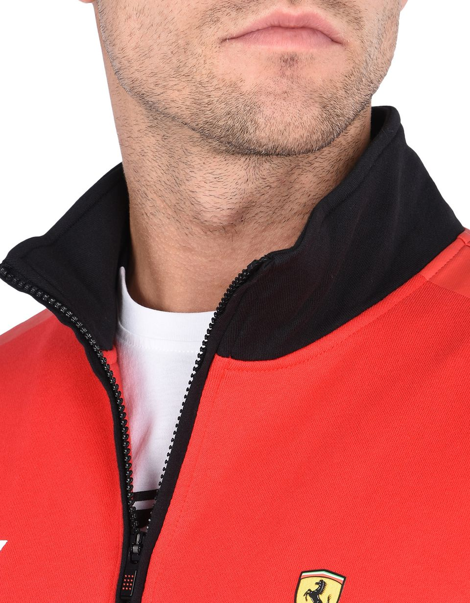 Scuderia Ferrari Online Store - Men's zipped sweatshirt with geometric print and Ferrari Shield - Zip Sweaters
