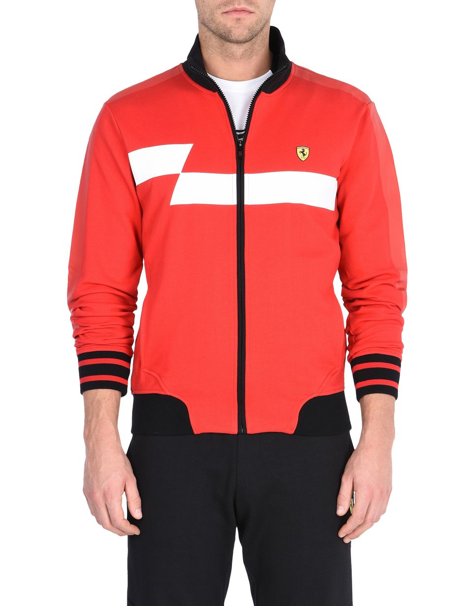 Scuderia Ferrari Online Store - Men's zipped sweatshirt with geometric print and Ferrari Shield -