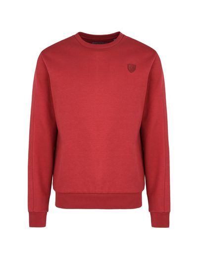 Scuderia Ferrari Online Store - Crewneck sweatshirt in technical cotton fabric - Crew Neck Sweaters