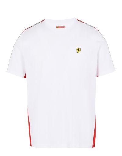 Scuderia Ferrari Online Store - Scuderia Ferrari T-shirt with Icon Tape - Short Sleeve T-Shirts