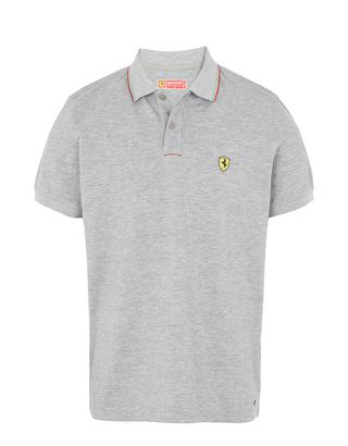 Scuderia Ferrari Online Store - Men's piqué cotton polo shirt - Short Sleeve Polos